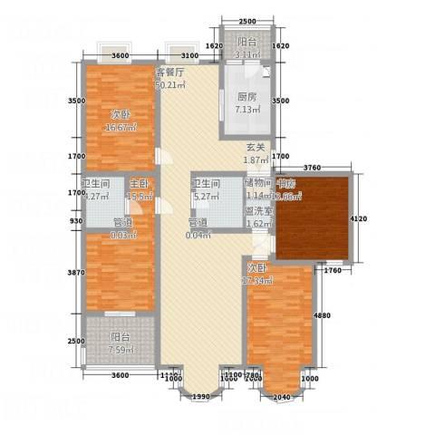 铂宫4室2厅2卫1厨207.00㎡户型图