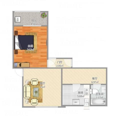 康乐小区1室2厅1卫1厨70.00㎡户型图