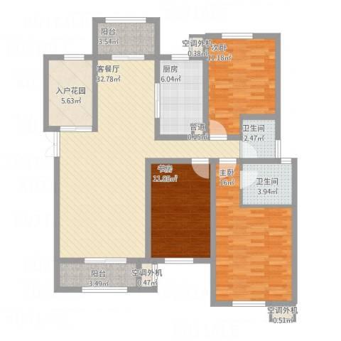 东方米兰国际城3室1厅2卫1厨143.00㎡户型图