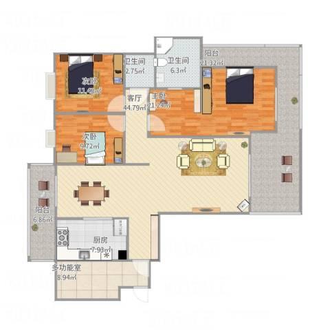 盛南领地3室1厅2卫1厨190.00㎡户型图
