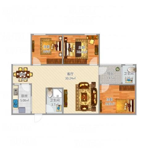 御东和府北塔15103室1厅2卫1厨100.00㎡户型图