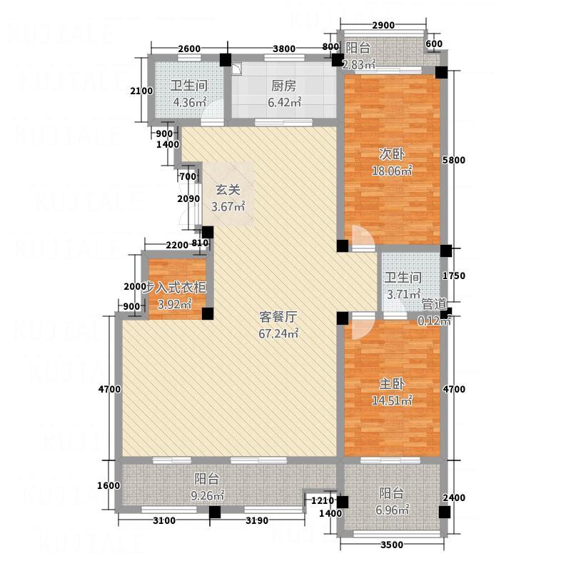 景典杰座165.75㎡F户型2室2厅2卫