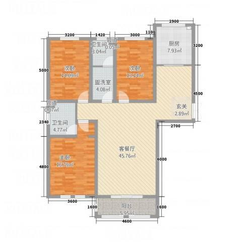 宏大观园3室2厅2卫1厨23147.00㎡户型图