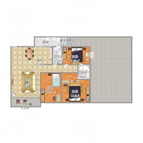 翠荷轩3室2厅2卫1厨172.00㎡户型图