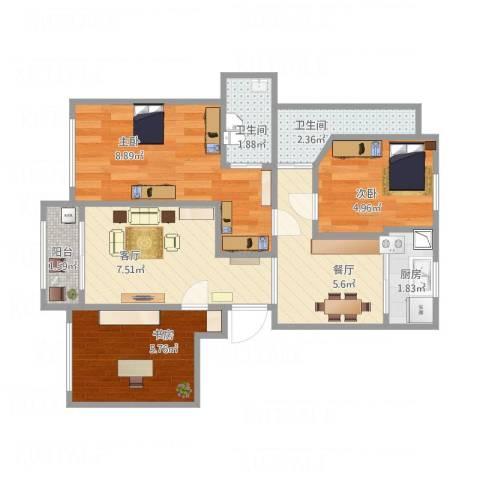 大家之江悦3室2厅2卫1厨57.00㎡户型图