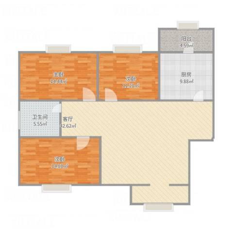裕龙花园六区3室1厅1卫1厨138.00㎡户型图
