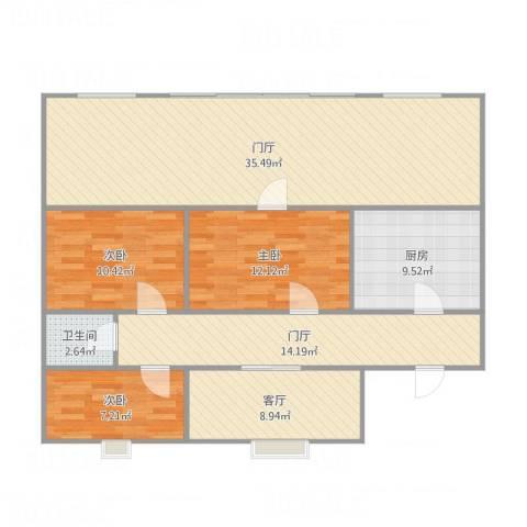 裕龙花园六区3室1厅1卫1厨155.00㎡户型图