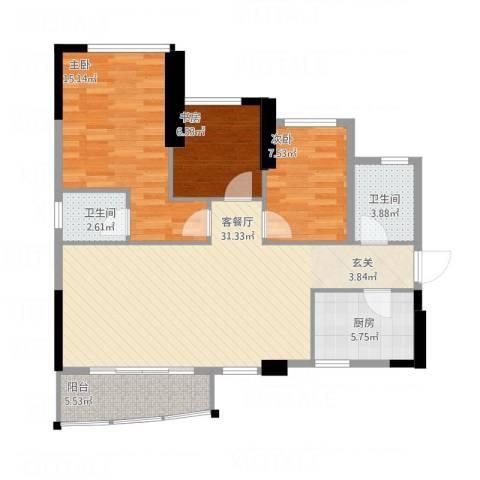 金茂华庭3室1厅2卫1厨110.00㎡户型图