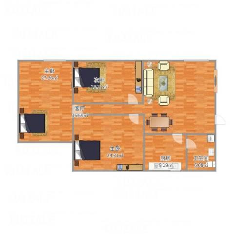 红棉雅苑3室1厅1卫1厨161.00㎡户型图