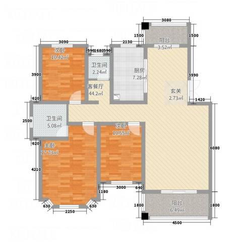 长房西郡3室1厅2卫1厨155.00㎡户型图
