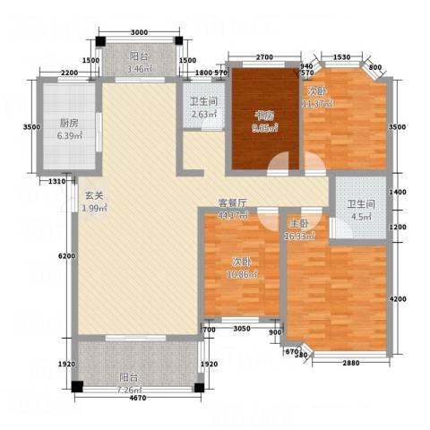长房西郡4室1厅2卫1厨168.00㎡户型图