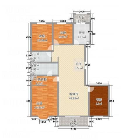宏大观园4室1厅2卫1厨136.99㎡户型图