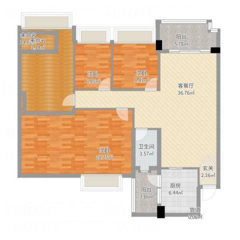 雅居乐岭会3室1厅1卫1厨165.00㎡户型图