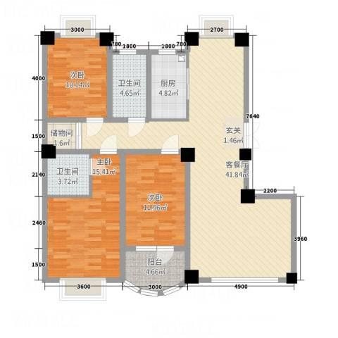 陶瓷家园3室1厅2卫1厨144.00㎡户型图