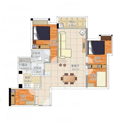 名流印象三期幸福季4室1厅2卫1厨94.83㎡户型图