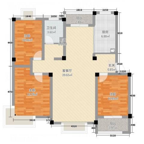 永兴花园3室1厅1卫1厨131.00㎡户型图