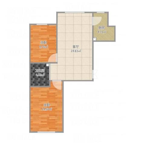 上台花园A区2室1厅1卫1厨79.00㎡户型图