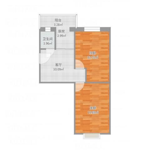 詹滨西里2室1厅1卫1厨62.00㎡户型图