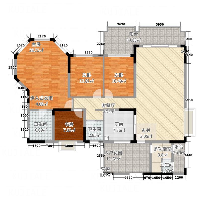 爱加西西里152.00㎡二期8号楼标准层G3户型4室2厅2卫1厨