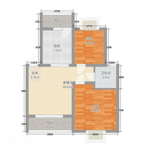 麒麟半岛2室1厅1卫1厨83.00㎡户型图
