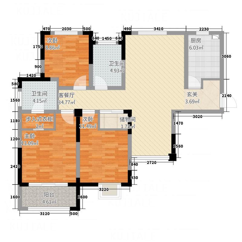 书香雅苑123.38㎡b-1户型3室2厅2卫1厨