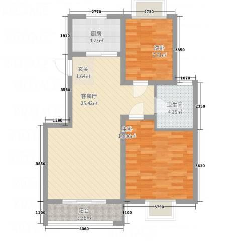 麒麟半岛2室1厅1卫1厨84.00㎡户型图