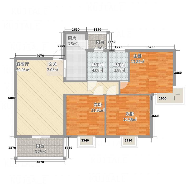 宝华新城11.61㎡6#B2B4户型3室2厅2卫