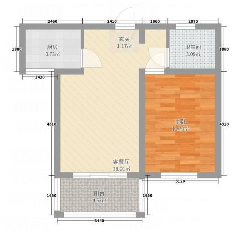 麒麟半岛1室1厅1卫1厨61.00㎡户型图