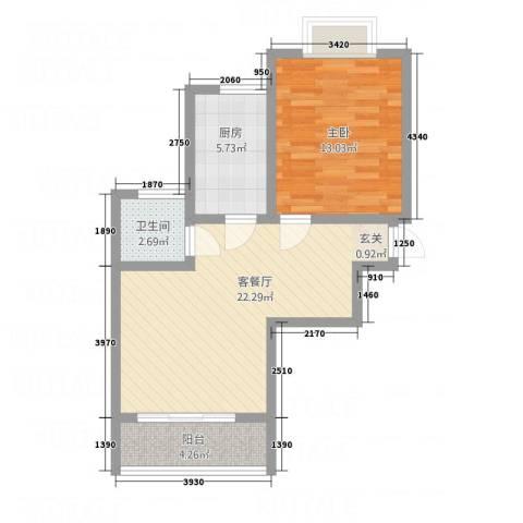 麒麟半岛1室1厅1卫1厨48.00㎡户型图