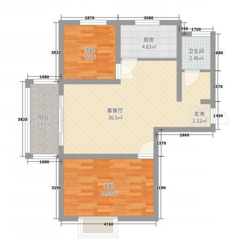 麒麟半岛2室1厅1卫1厨85.00㎡户型图