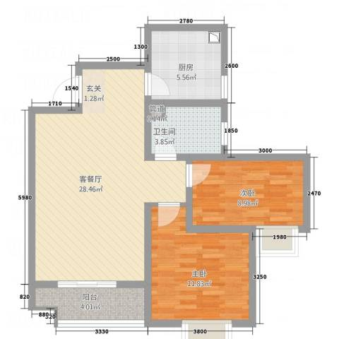 水木清华高层2室1厅1卫1厨63.04㎡户型图