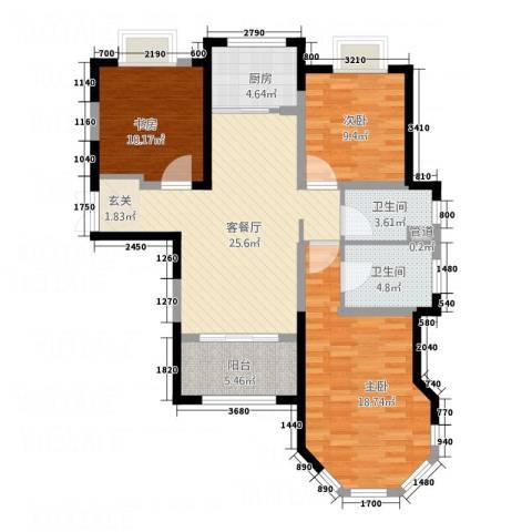 中南世纪锦城3室1厅2卫1厨117.00㎡户型图