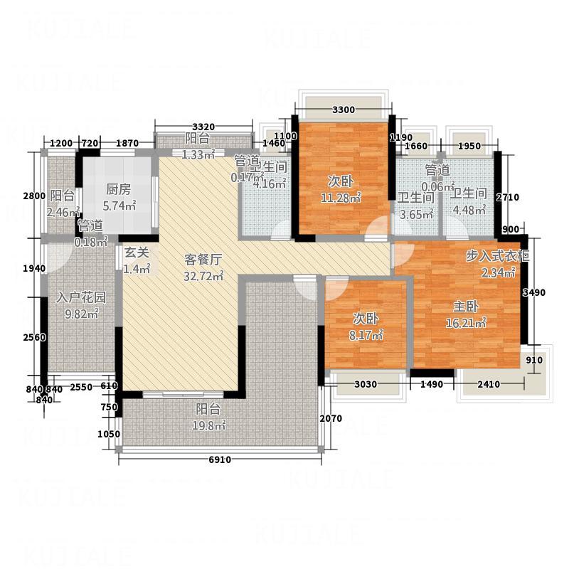 正德・�珑湾143.60㎡户型3室2厅3卫1厨