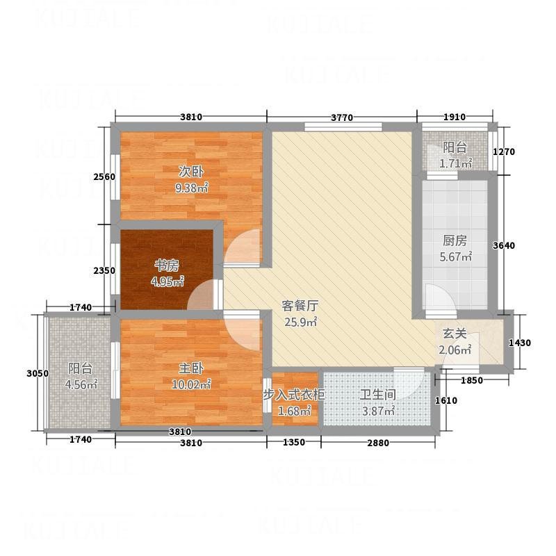 滨河城上城1632.62㎡16#户型3室2厅1卫1厨