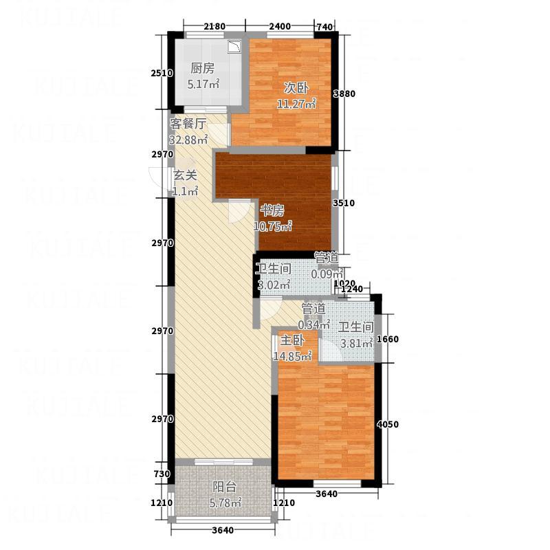 永利广场131.00㎡131户型3室2厅2卫1厨