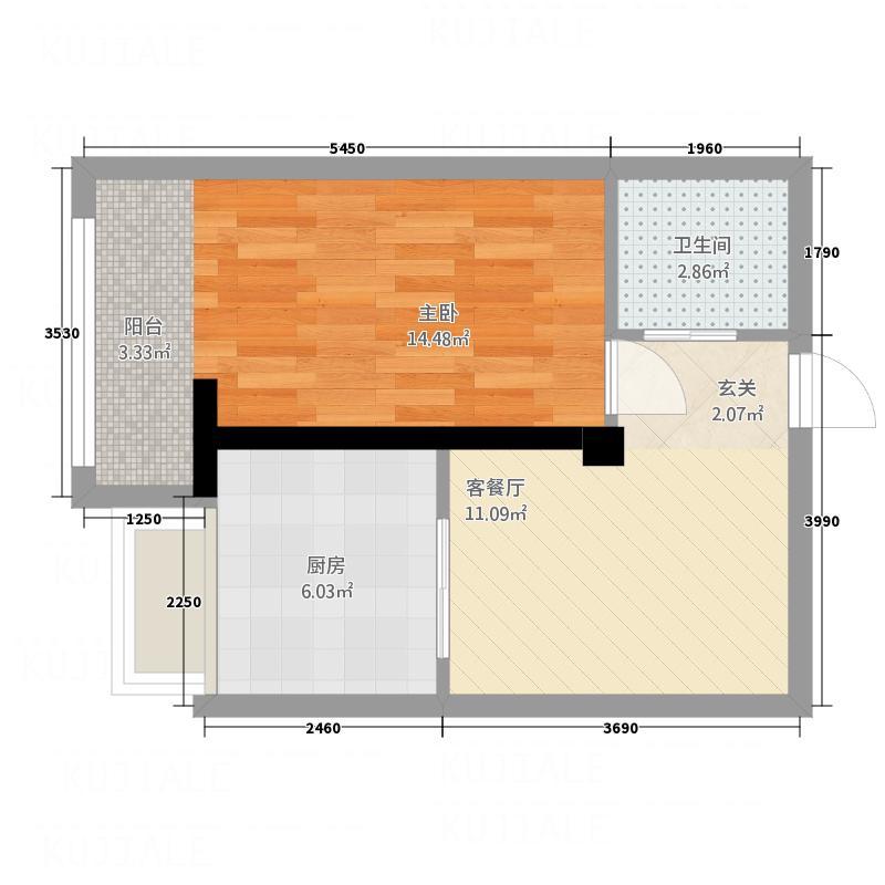 财富公馆51.00㎡E3户型1室2厅1卫1厨