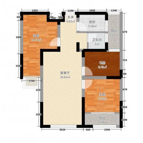 中南世纪锦城3室1厅1卫1厨64.80㎡户型图