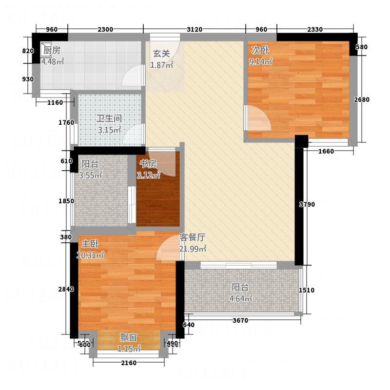 华懋金滩一号87.20㎡金滩一号A户型3室2厅1卫1厨