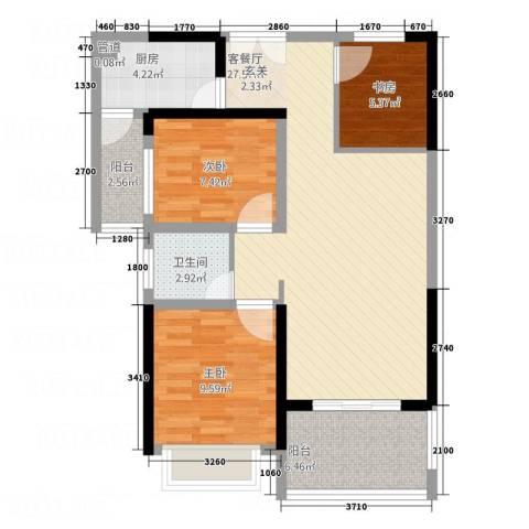 万和乐华花园3室1厅1卫1厨97.00㎡户型图