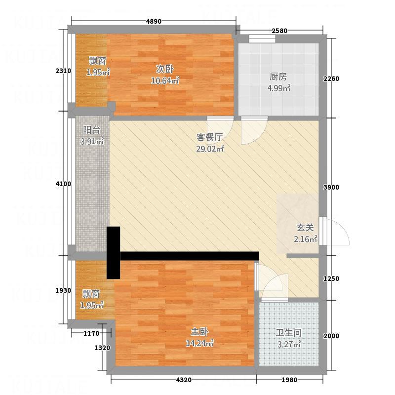 财富公馆86.55㎡E4户型2室2厅1卫1厨