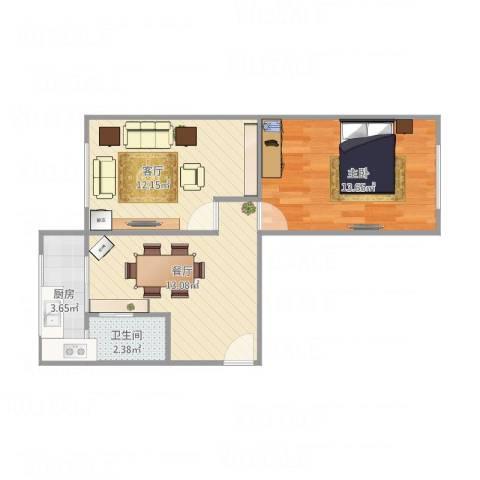 新佳园东里1室2厅1卫1厨61.00㎡户型图
