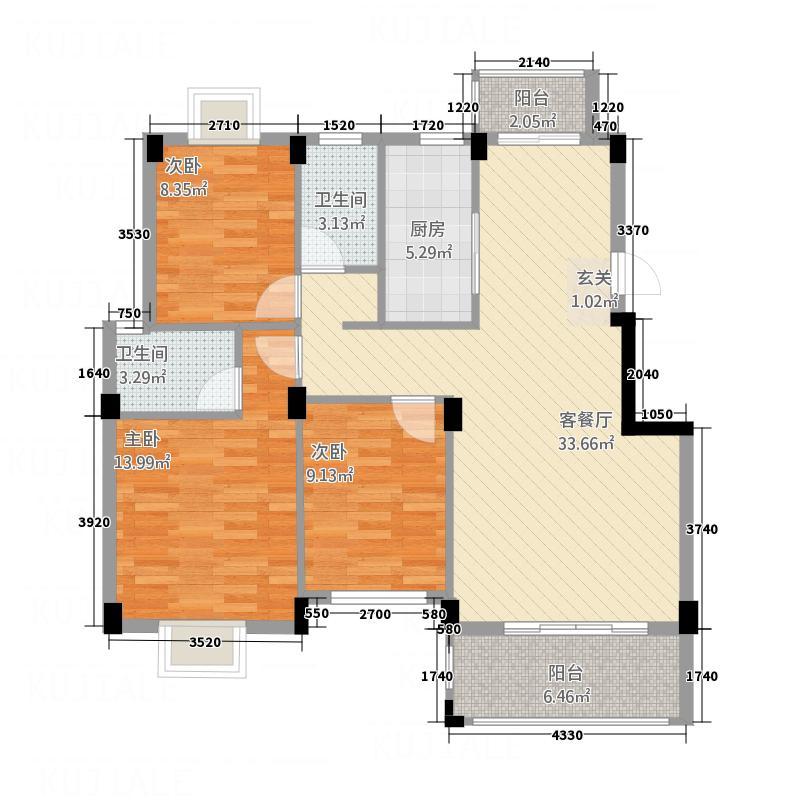 浔南・理想家园3室1厅2卫1厨120.00㎡户型图