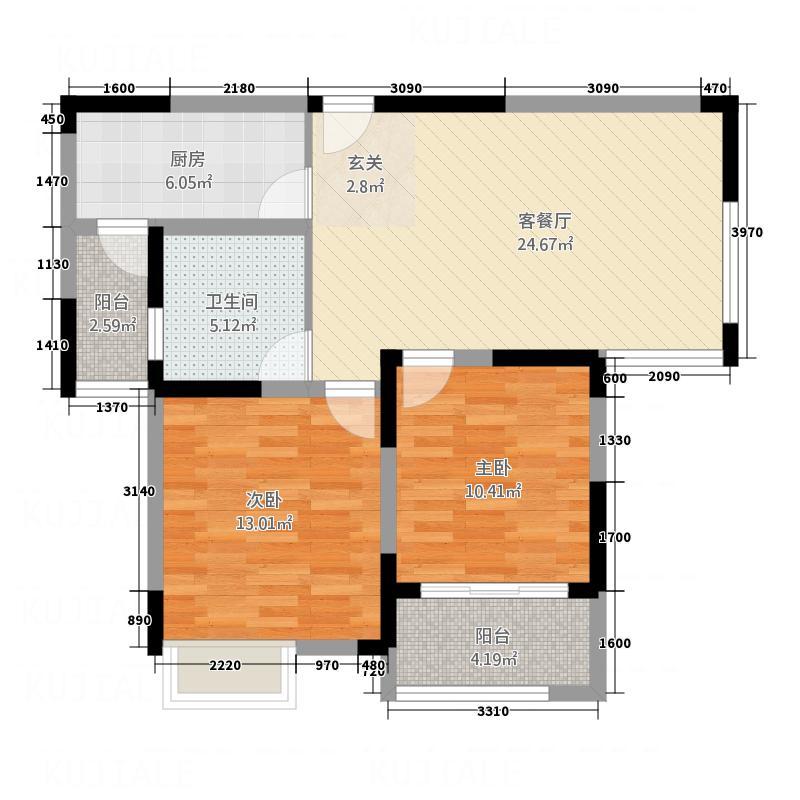 景徽国际4.45㎡B-2户型2室2厅1卫1厨