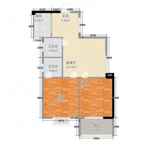 望江阳光城2室1厅2卫1厨122.00㎡户型图