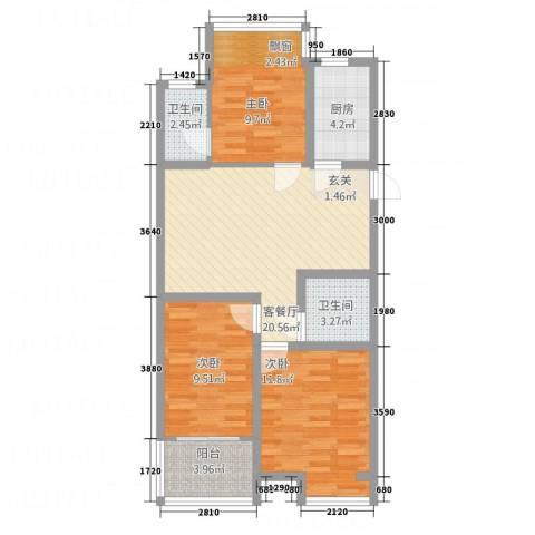 锦绣华城3室1厅2卫1厨33215.00㎡户型图