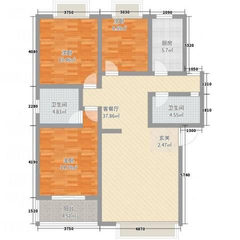 尚高城市花园3室1厅2卫1厨188.00㎡户型图