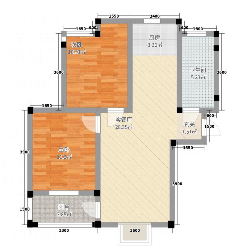 黄山厚海7.10㎡雅舍户型2室2厅1卫1厨