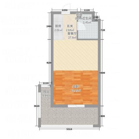 黄山厚海1厅1卫0厨56.00㎡户型图