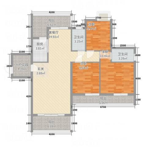 景竣名苑3室1厅2卫1厨142.00㎡户型图