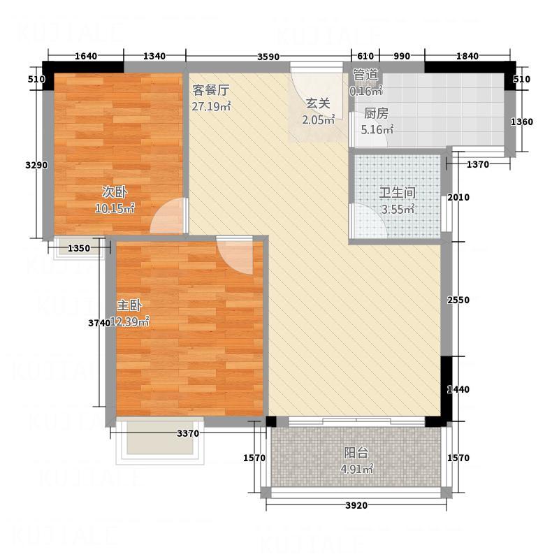 江山御景88.10㎡四期D2户型2室2厅1卫1厨